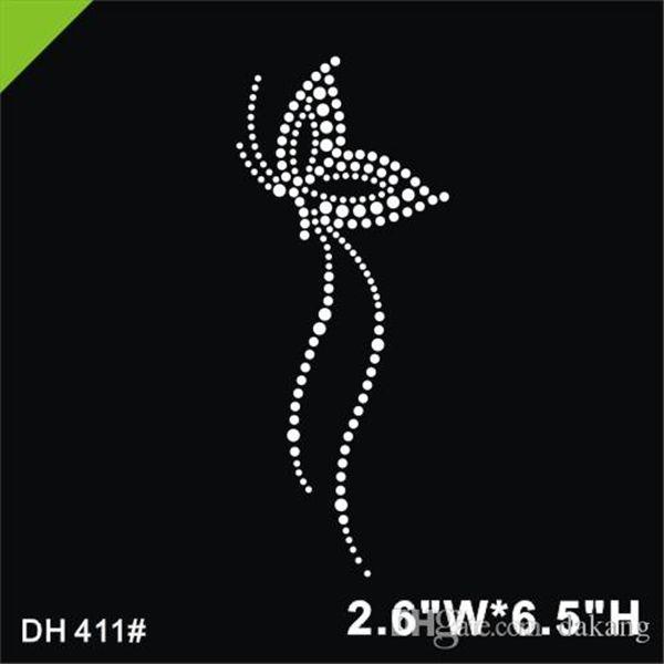 top popular Free shipping Butterfly design rhinestones hotfix motif heat transfer iron on patch garment accessory 411# 2021