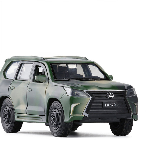 top popular 1 32 LEXUS LX570 Simulation Toy Car Model Alloy Pull Back Children Toys Genuine License Collection Military Off-Road Vehicle 2021