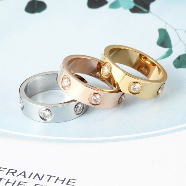 top popular Hot Sale Women Men Couple Ring Jewelry 4MM 5MM 6MM Silver Gold Rose Gold Color titanium steel Lover Wedding Rings with Bag 2021
