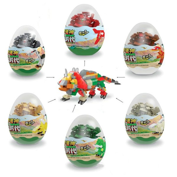 top popular New 6 IN 1 Dinosaur Animals Zoo building block Kids Twisting egg compatible assembly Toys enlightenment wisdom children Toy 2021