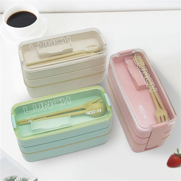 top popular GEEKHOM Lunch Box 3 Layers Food Container Box Eco Friendly Thermal Microwavable Japanese Bento LunchBox For Kids 201210 2021