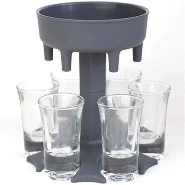 top popular Hot Selling 6 Shot Glass Dispenser Holder Wine Whisky Beer Dispenser Rack Bar Accessories Caddy Liquor Dispenser Party Games Drinking Tools 2021