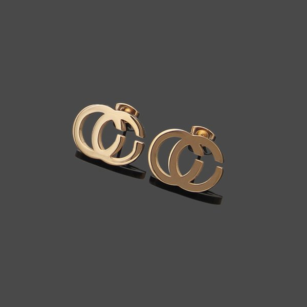 top popular 3 Colors Hot Sale Extravagant Design Fashion Stamp Earrings Gold Silver Rose Ear Studs Stainless Steel Earrings For Women Hoop Wholesale 2021
