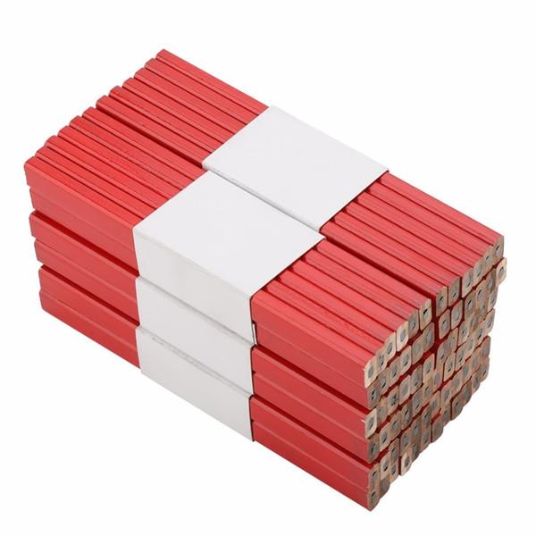 best selling 72PCS 175mm Octagonal Red Hard Black Lead Carpenter Pencil Woodworking Marking Tool T200107