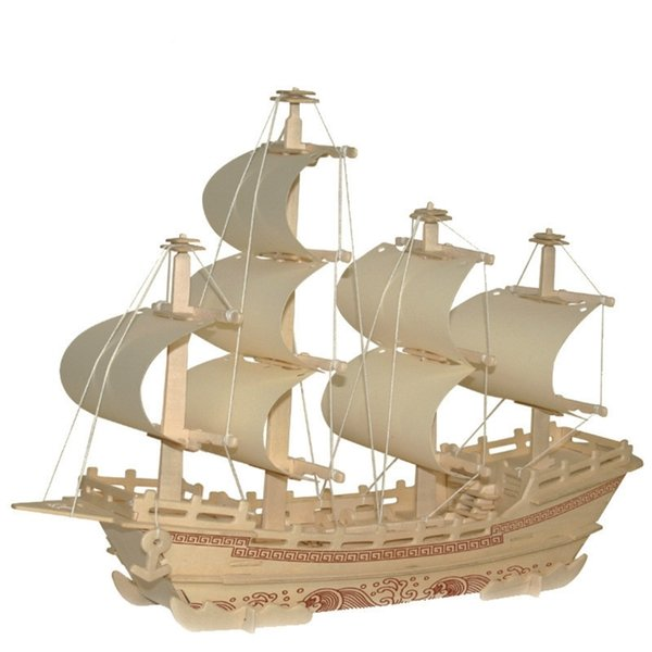 best selling Classical Sailing Ship Model Wooden DIY 3D Jigsaw Puzzle Educational Adult toys Child Toy Y200428