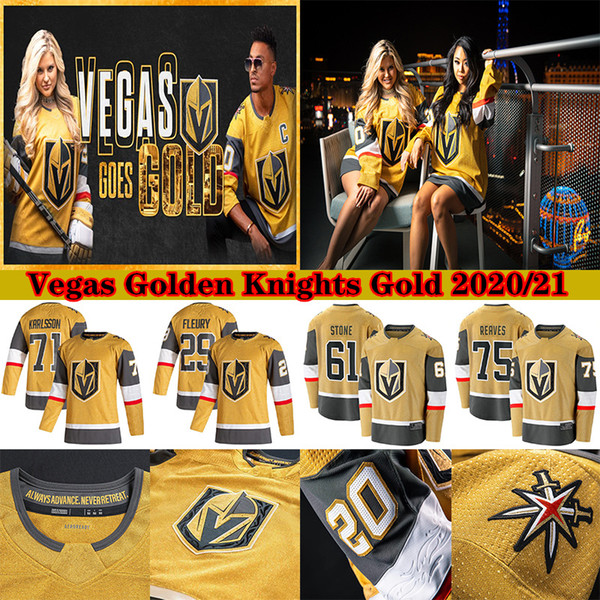 best selling Vegas Golden Knights 2020-2021 Gold Third Jersey 29 Marc-Andre Fleury 61 Mark Stone 67 Max Pacioretty 81 Marchessault Hockey Jerseys
