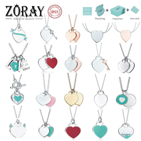best selling Tiff 925 Silver Pendant Necklace Female Jewelry Exquisite Craftsmanship with Official Logo Tiff Blue Heart Necklace Wholesale