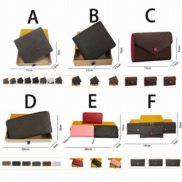 top popular Wholesale a number of high quality men's and women's wallets long short single zipper embossed leather wallet with box card 26 colors 2020
