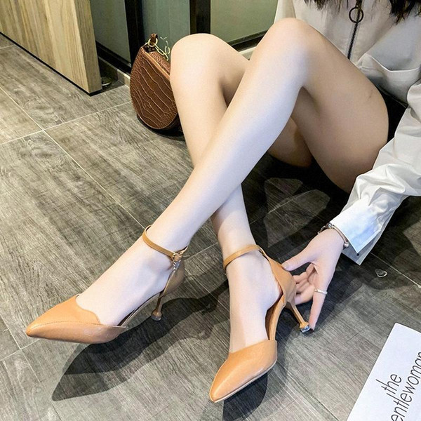 top popular Fashion Buckle Pumps Women Pointed Toe Sandals High Heels Summer Office Pu Leather Thin High Heels Women Stiletto Heel Sandals d9da# 2020