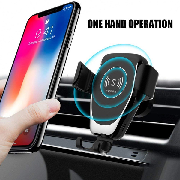 top popular 2020 Automatic Gravity Qi Wireless Car Charger Mount for Iphone Xs Max Xr x 8 10w Fast Charging Phone Holder for Samsung S10 S9 New Arrive 2021