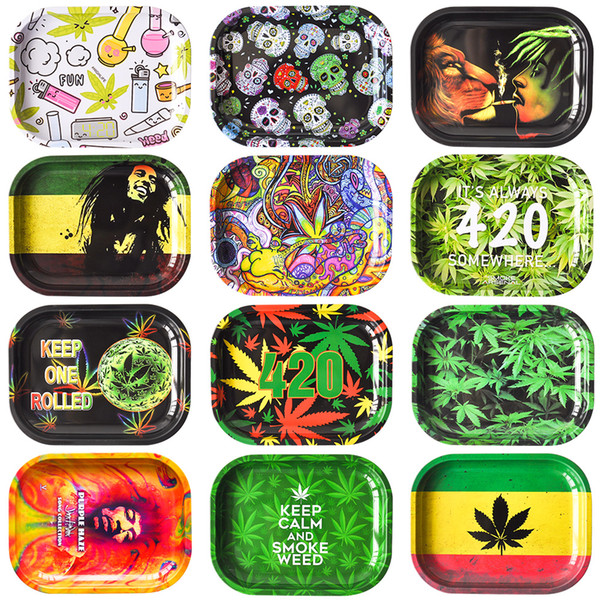 """best selling New Cartoon Rolling Tobacco Tray 7""""*5.5"""" Metal Tray Tobacco Stroage smoke accessory smoke pipe for wholesale"""
