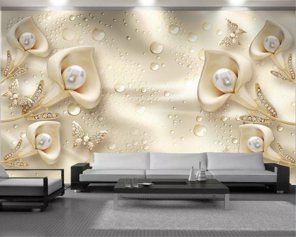 top popular Wallpaper 3d Custom 3d Calla Butterfly Silk Water Wave Reflection Living Room Bedroom Background Wall Decoration Wallpaper 2021