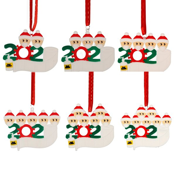 top popular 2020 Christmas Quarantine Ornaments Xmas Customized Gift Survivor Family of Hang Decorations Pendant With Face Mask Hand Sanitizer 2020