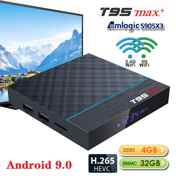 top popular Android TV Box T95 MAX Plus Android 9.0 Amlogic S905X3 4+32GB 64GB Bluetooth 4.0 2.4G+5G Wifi Support Smart TV 2020