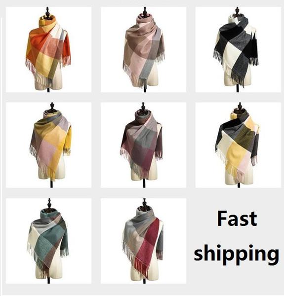 best selling 8 Styles Winter Plaid Tassel Scarf Tartan Cashmere Scarf Women Plaid Blanket Scarf New Designer Acrylic Basic Shawls Women's Scarves Wraps