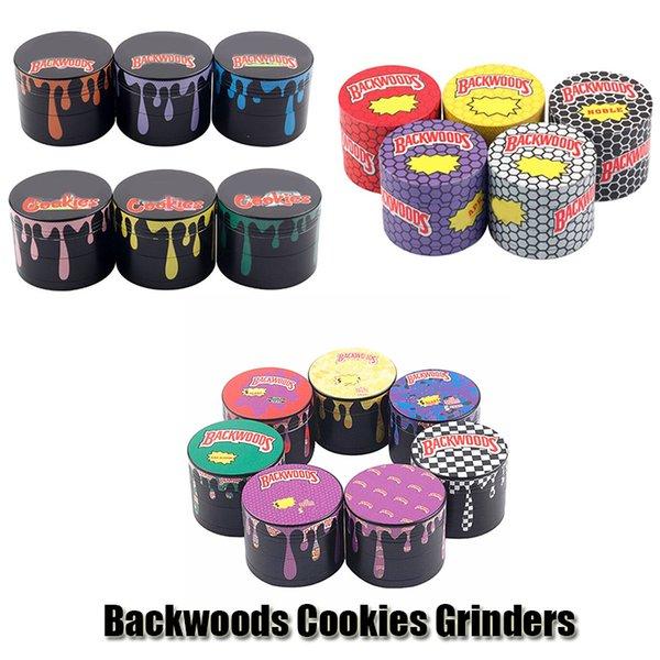 best selling Backwoods Cookies Grinder Herb Metal Zinc Alloy Tobacco Herbal 4 Layers 40 50 55 63mm Diameter Grinders Smoking Accessories