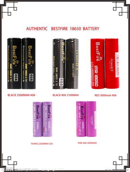 top popular 100% Original Authenti BESTFIRE 18650 Battery Series 35A 40A 2500mAh 3100mAh 3000mAh 3500mAh High Drain Discharge Lithium Battery 5 models 2021