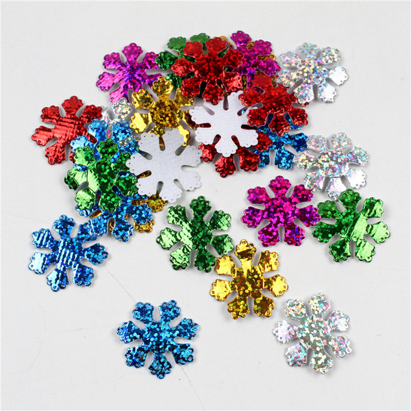 best selling 100pcs pack 30mm Christmas Snowflake Felt Padded Appliques for Headwear Hairpin Crafts Wedding Decoration DIY Accessories Wholesale