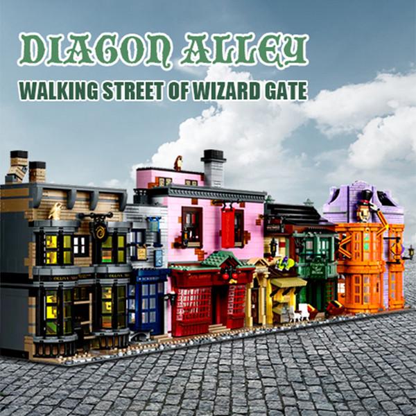 top popular 20007 5544pcs Movie Series: Castle Diagon Alley Compatible 75978 Building Blocks Toys Christmas gift 2021