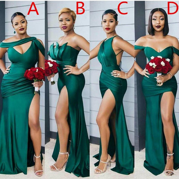 best selling 2021 Modest Emerald Green Side Split Long Bridesmaid Dresses Sexy Wedding Party Gowns Difference Neckline Cheap Bridesmaid Dress Custom Made