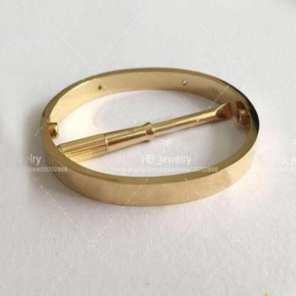 best selling Fashion High version gold screw bracelet nail bangle pulsera braccialetto for mens and women Party wedding couples gift jewelry With BOX