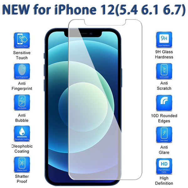 best selling Screen Protector for iPhone12 12 Mini 11 Pro Max XS Max XR Tempered Glass for iPhone 7 8 Plus Protective Film 0.26mm with Retail Box