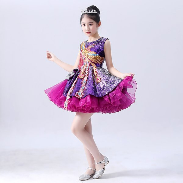 Girl Bead Lace Flower Girl Dresses Train Princess performance pageant gowns Prom Party sequin dress vestido primera comunion evening