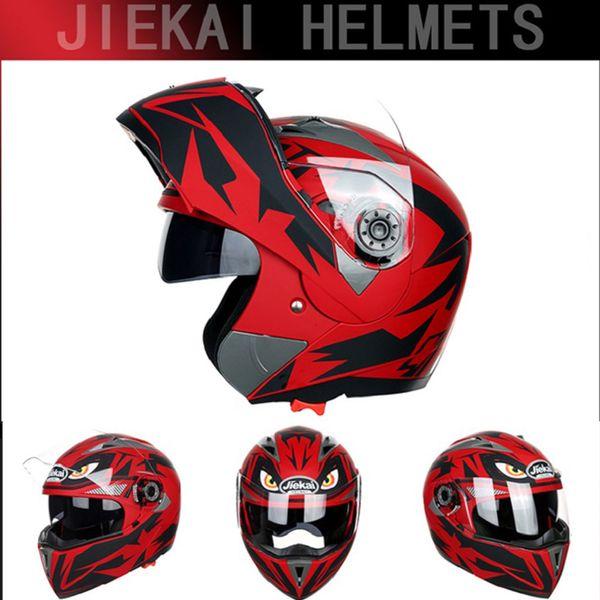 best selling 2020 FASHION JIEKAI 105 Open Face Motorcycle Helmets undrape face Motorbike helmet double lens casque off road helmet made of ABS PC Lens