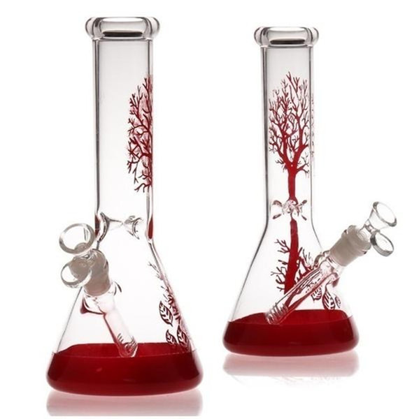 best selling 12 hours Ship red tree Glass Bong hookah glass water pipes beaker recycler 11 inch bongs dab rig oil burner ash catcher bubbler 14mm bowl