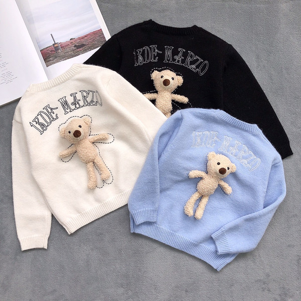 top popular New Style Kids girls Boys knitting Sweater Winter Fashion Children Pullover Sweater With Bear Baby Boy Clothes 3 Colors 2021