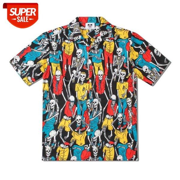 top popular Men's Coat men's Short Sleeve Shirt Men's Creative Skeleton Printed T-Shirt Hiphop-Style Loose-Fit Short-Sleeve shirt #ga8l 2021