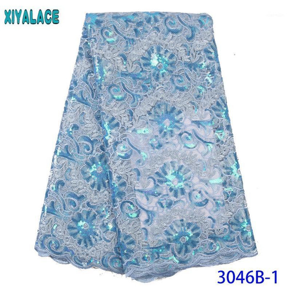 best selling Nigerian Tulle Lace Fabric 2020 High Quality Lace Organza Laces Fabrics Sequence Fabric for Women Dresses KS3046B1