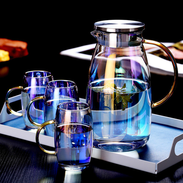 top popular 1.8L Colorful Glass Water Pot Heat-resistant Explosion-proof Large-capacity Glass kettle Teacup Drinkware Teapot Fruit Juice Jug 2021