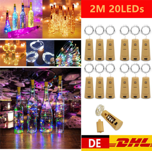 top popular 1M 10LED 2M 20LED Lamp Cork Shaped Bottle Stopper Light Glass Wine LED Copper Wire String Lights For Xmas Party Wedding Halloween 2020