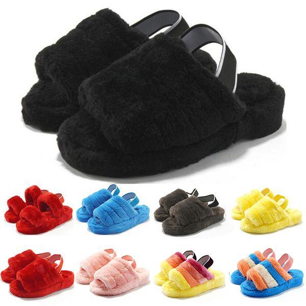 top popular 2020 New women men slides winter furry slippers black red yellow warm comfortable fuzzy girl flip flops size 36-42 2021