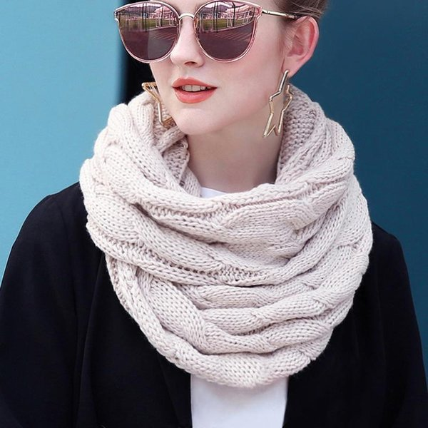 best selling Women Scarf Women Knitted Snood Scarf Winter Infinity Scarves Neck Circle Cable Warm Soft Ring Female 2020