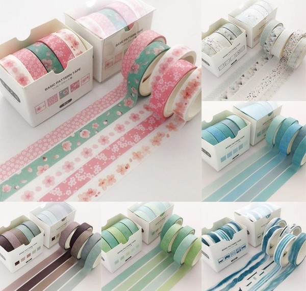 best selling Creative Scrapbooking Pcs pack Colorful Grid Adhesive Masking Label Washi Decorative Sticker 5 Tape Supply School Tape 2016 Office jllAO