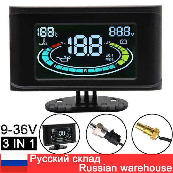 best selling Gauges Oil Pressure Gauges 3 IN 1 LCD Truck Car Oil Pressure Gauge Voltmeter Voltage Water Temperature Meter Sensor 10mm