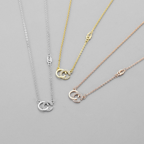 best selling 2020 Wholesale Brand Designer Double Letters necklace Gold Tone necklace For Women Men Wedding Party Jewelry Gift