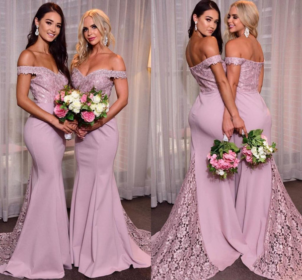 top popular Elegant Mermaid Off Shoulder Bridesmaid Dresses Lace Applique Sweep Train Custom Made Maid of Honor Gown Country Wedding Party Wear 2021