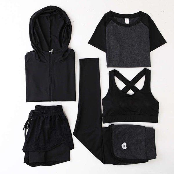 深灰 外套 + 深灰 弧线 短袖 + 深灰网裤 + 黑色 美 背 胸衣 + 桃心裤 - 五 件 套