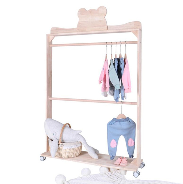 best selling Bear and crown double pole floor solid wood roller clothes rack children's clothing store display shelf children's room decoration rack