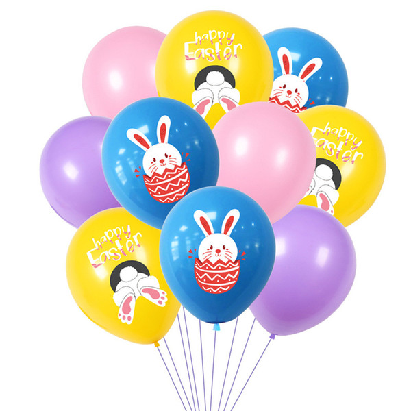 top popular Happy Easter Rabbit Printed Balloons Latex Air Balloon Kids Toys Cartoon Bunny Easter Party Decoration Eggs Balloon Festival Supplies G10703 2021