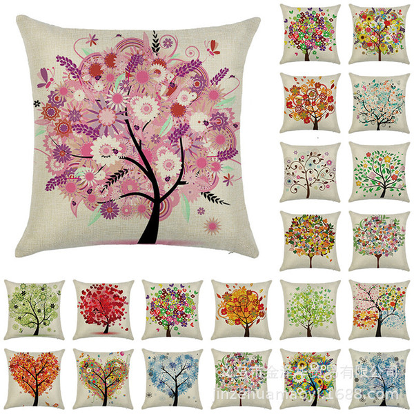 best selling Tree Home Products Oil Painting Love Linen Pillow Case Gift Cushion Waist Pillow Case