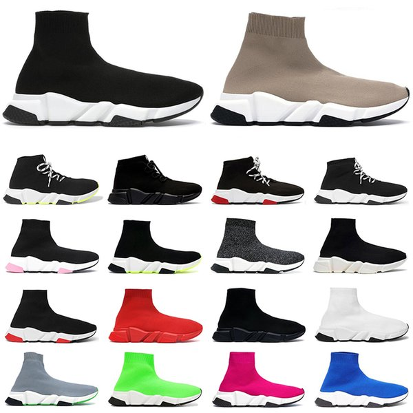 top popular 2021 sock shoes men women sneakers high top triple Black Red White Beige Pink Cristal Clearsole mens fashion trainer casual tennis shoe 2021