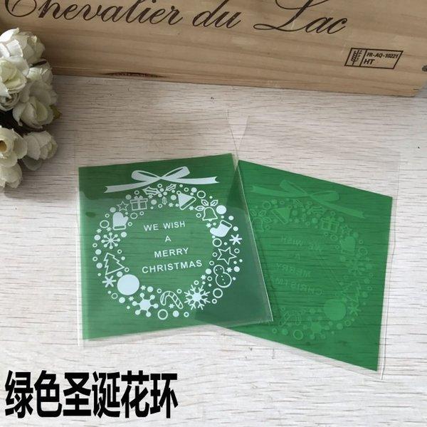 Guirnalda verde sobre la Navidad-10 x 14 cm,