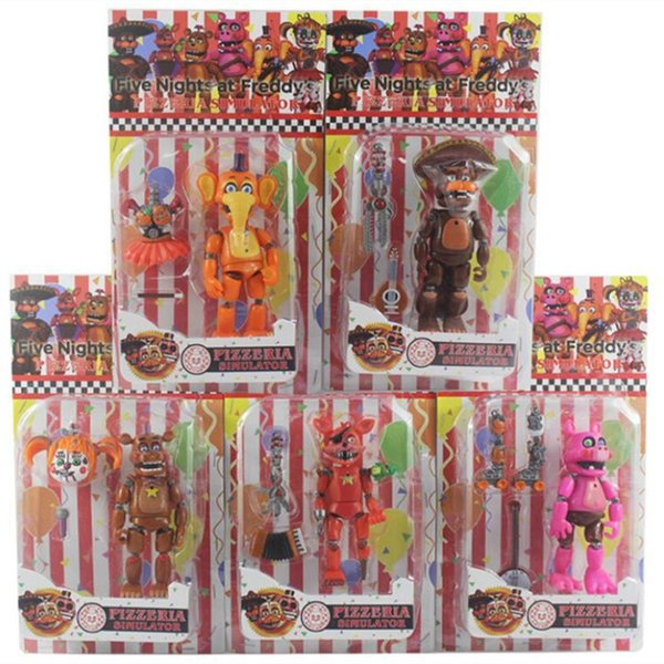 best selling Five Nights At Freddy Action Figure Toy FNAF Bonnie Foxy Freddy Fazbear Bear Dolls Toys DIY Assembly 1008