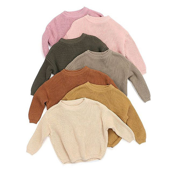 best selling Newest Deisgner Kids Pullover Autumn Winter Newborn Baby Girl Boy Knitted Sweater Solid Loose Casual Tops Warm Clothes For 0-6T