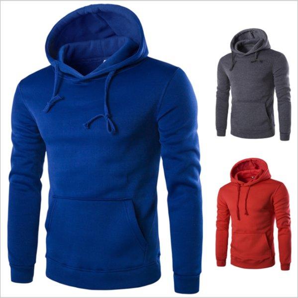 top popular Factory autumn winter men's casual hoodie solid color Korean version Pullover body-smeat head plus velvet long-sleeved men's clothing. 2021