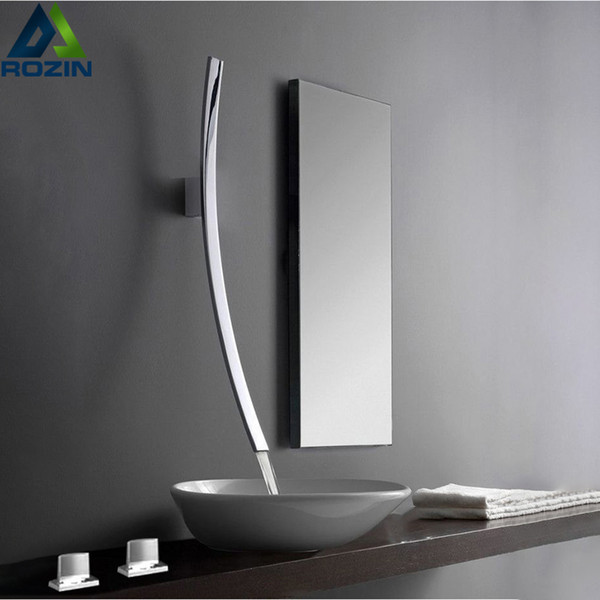 top popular Wall Mounted 70cm Spout Waterfall Basin Faucet Single Handle Chrome Bathroom Mixer Tap Concealed Basin Sink Torneira T200107 2021